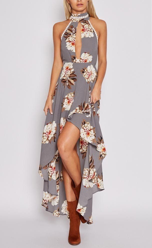 Chicnico Fashion Keyhole Floral Print Open Back Dress