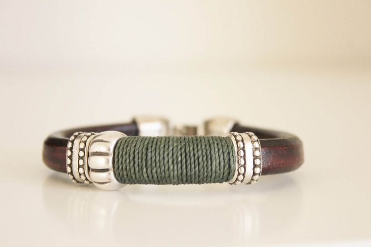 BRACELET FOR MEN, Male bracelet. Men bracelet, men jewelry, silver, uno de 50 style, brown leather, gift for men, mens gift, brown leather by kalmabisuteria on Etsy