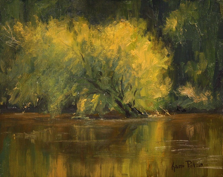 """... Continued, """"The title reminded me of that time, of a luminosity older than our Christian civilization.""""-- William Faulkner, on his novel, """"The Light In August"""". Painting- """"River Trees"""" by Kami Polzin."""