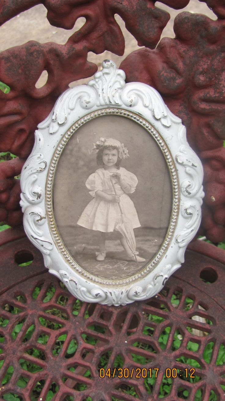 REDUCED Vtg Antique Look Shabby Cream Gold Flashings Metal Framed Young Victorian Girl Portrait Photo Fancy Oval Picture Frame by treasuretrovemarket on Etsy