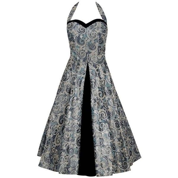 Preowned 1950's Claudia Young Metallic Embroidered Silver Taffeta... ($550) ❤ liked on Polyvore featuring dresses, aesthetic evening dresses, silver, skater skirts, low cut dresses, low cut halter top, metallic skater skirt and halter dresses