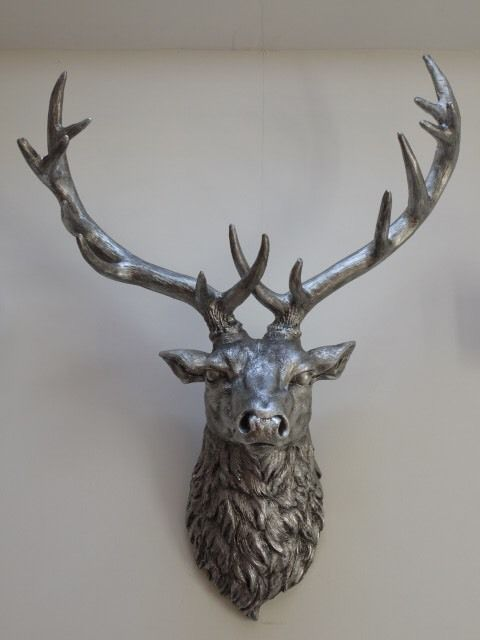 Large silver Christmas stag deer wall mounted head figure home accessory