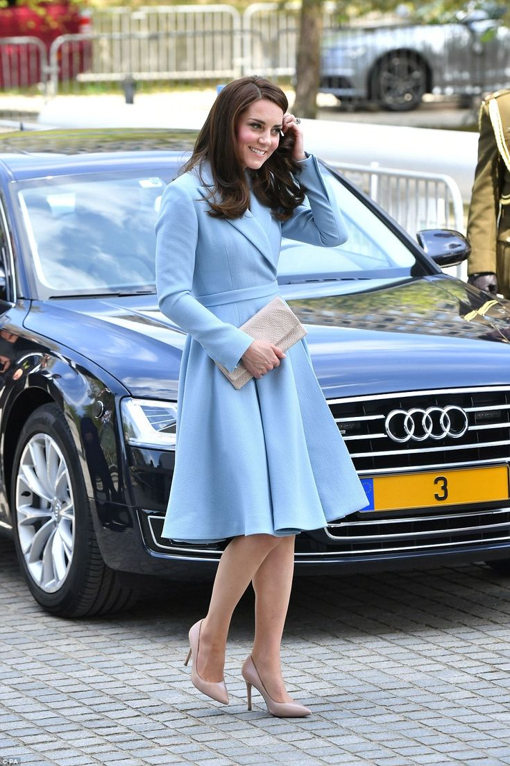 Kate looked elegant in a full-skirted blue coat dress from Emilia Wickstead as she commenced her official visit to Luxembourg- May 2017