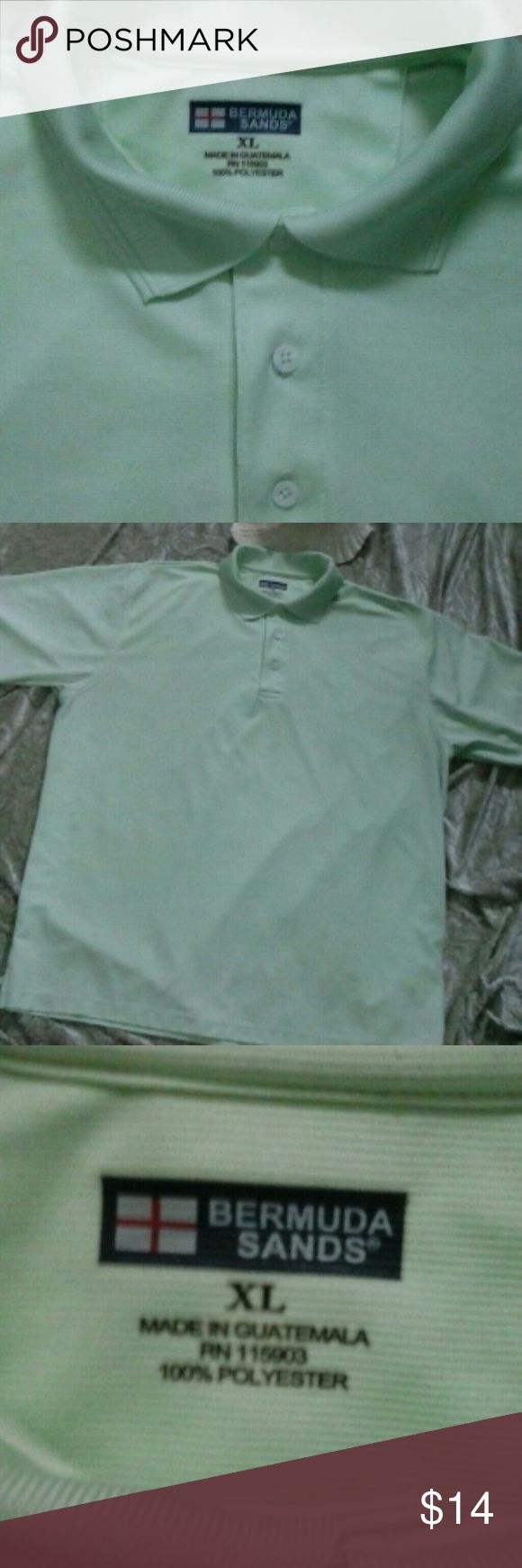 """LN Bermuda Sands Golf Shirt XL Shortsleeve Like New Bermuda Sands Golf Shirt XL. Has Bermuda Sands logo on right sleeve. Color Light mint green, 3 button down front with collar.Flat lay measures pit to pit 27"""", length from arm pit to hem 20"""" thanks for stopping by and feel free to ask questions. Bermuda Sands  Shirts Polos"""