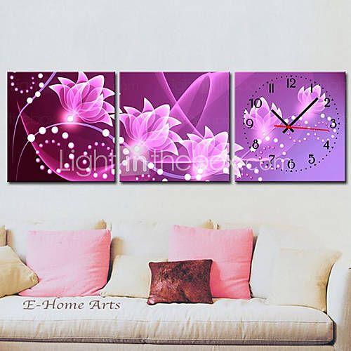 Prezzi e Sconti: #Moderno floreale tela muro set di clock di 3  ad Euro 47.27 in #Lightinthebox #Casa e giardino > decorazioni