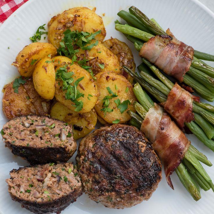 Speck und Flohsamenschalen machen diese glutenfreien Frikadellen zum wahren Genuss. Schritt für Schritt Anleitung inklusive Bratkartoffeln und Speckbohnen
