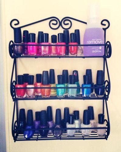 Spice rack to hold nail polish...Great idea!!