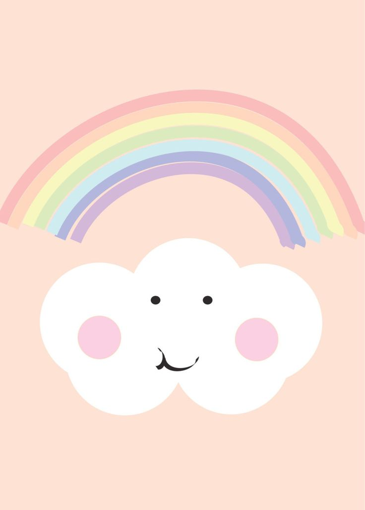 Rainbow And Cloud Peach Print Cute Kids Art Pastel Print