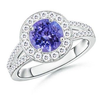 Angara Diamond Framed Cushion Tanzanite Scroll Patterned Ring uGKUm