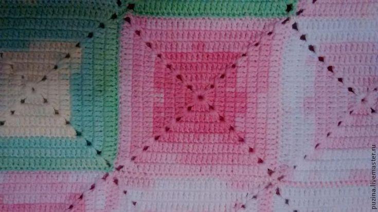 Вязание крючком: детское одеяло из квадратов - Ярмарка Мастеров - ручная работа, handmade