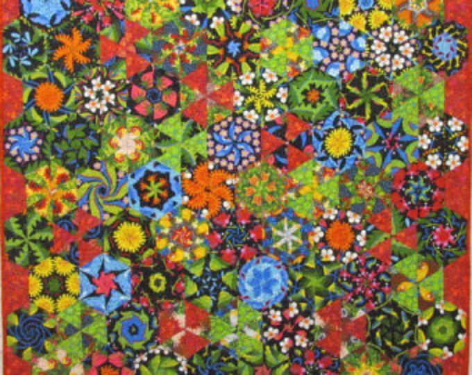 Rode en blauwe Stack N Whack originele Art Quilt door Lenore Crawford