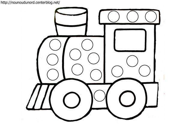 Coloriage A Gommettes Le Train Dessine Par Nounoudunord Gommette Coloriage Activites Artistiques D Age Prescolaire