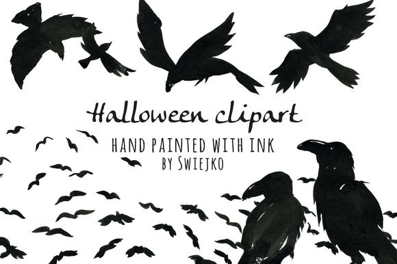 raven clipart, watercolor clip art, halloween illustration, scarry, silhouette, hand painted by Swiejko