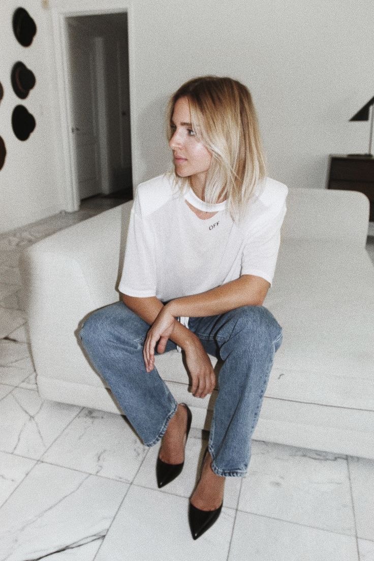 OFF WHITE   oversizedshoulder pads tee OFF WHITE jeans RUPERT SANDERSON   high heels photography by F. Flatau _____ _____ Hollywood night.  More photos on myPinterest! x