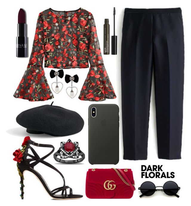 Dark florals by natallie on Polyvore featuring polyvore, fashion, style, J.Crew, Dolce&Gabbana, Gucci, Venus, Apple, NYX, clothing and darkflorals