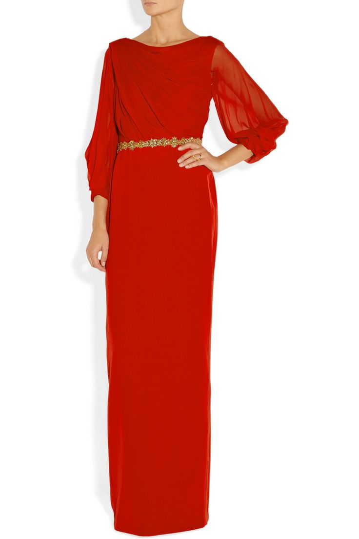 Notte by Marchesa|Embellished silk-chiffon and crepe gown|NET-A-PORTER.COM