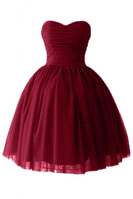 Celebrity Inspired Prom Dresses Real Image Cheap Short Puffy/Homecoming/Prom Dresses 2015 Under 100 Victoria Burgundy Ball Gown Sweetheart Cocktail Dresses With Lace Up Crazy Prom Dresses From Flodo, $83.77| Dhgate.Com