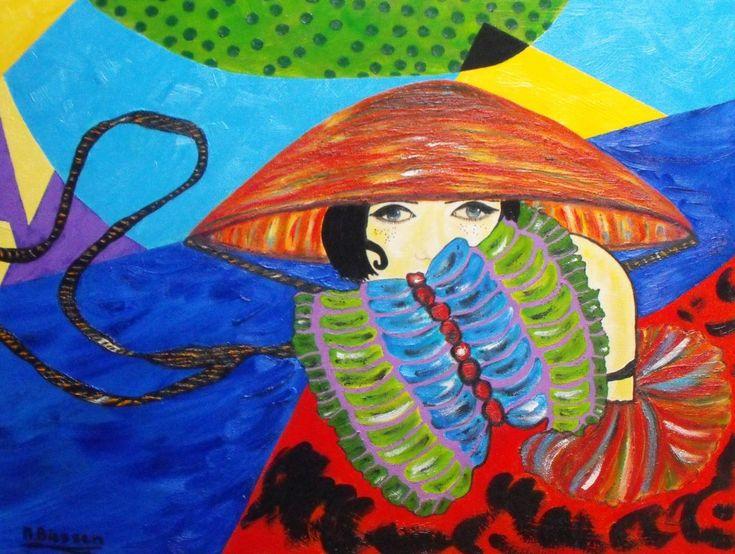 La mode, schilderij van Nelly Biessen | Abstract | Modern | Kunst