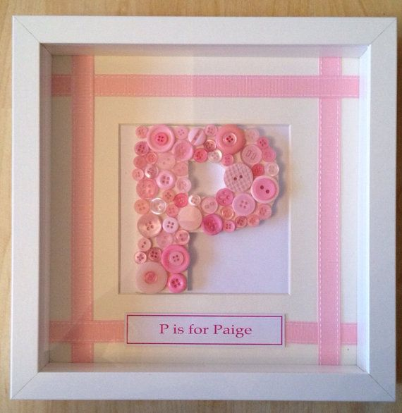 Button Initial Name in Box Frame by LittleButtonFrameCo on Etsy