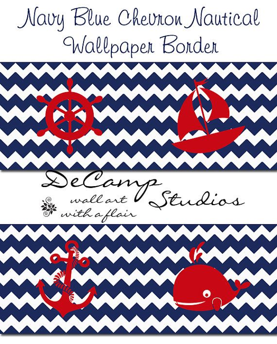 Navy Blue and White Nautical Chevron wallpaper wall art border decals for baby boy nursery or children's room decor #decampstudios