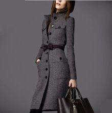 2014 para mujer de la marca lana mezclas jacket, women ' s abrigo de paño, señora de moda largo abrigo, mujer envío gratuito abrigo con estilo europeo(China (Mainland))
