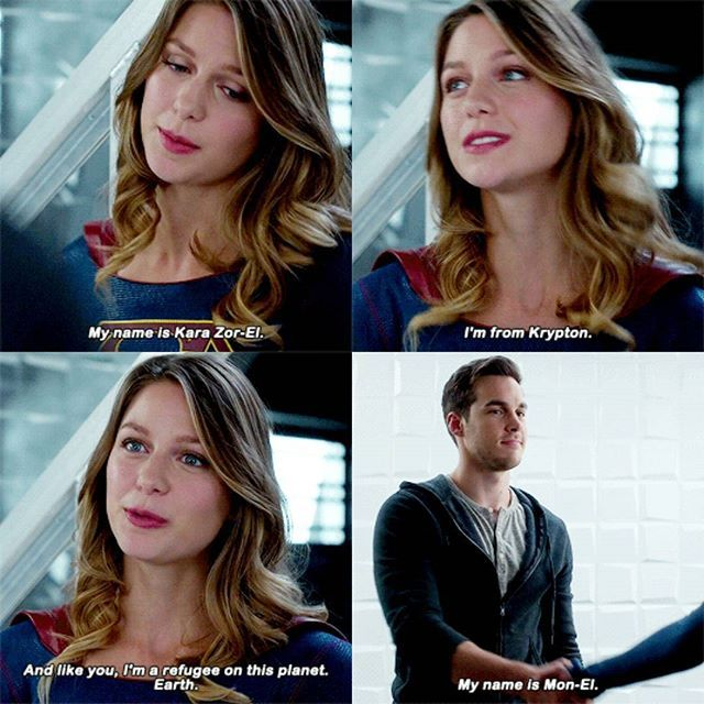 """My name is Kara Zor-El. I'm from Krypton. And like you, I'm a refugee on this planet. Earth"" - Kara and Mon-El #Supergirl ((I ship them! #KaraMon))"