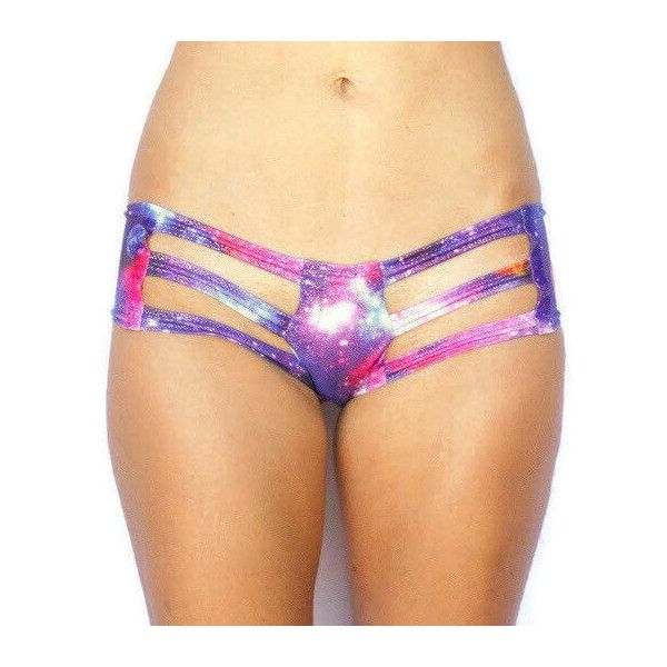 Galaxy Warrior Rave Cut Out Booty Short Bottoms ($23) ❤ liked on Polyvore featuring swimwear, bikinis, bikini bottoms, silver, women's clothing, galaxy bikini, reversible bikini, short swimwear, cut out bikini bottoms and short bikini