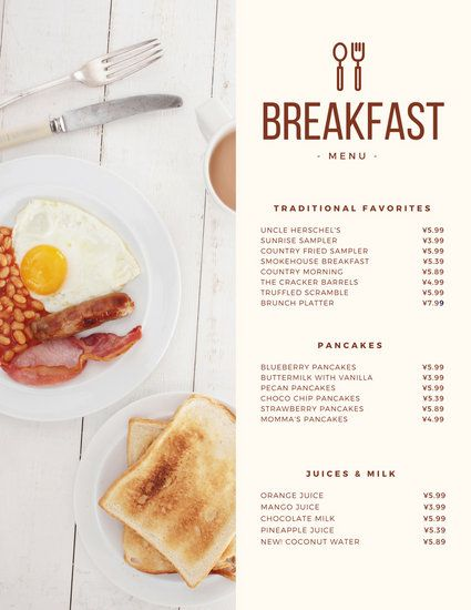 Modern Continental Breakfast Menu