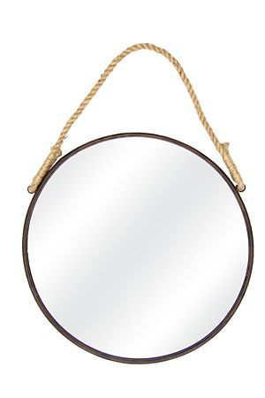 """This hanging round mirror with rope will add a coastal feel to your living room.<div class=""""pdpDescContent""""><BR /><b class=""""pdpDesc"""">Dimensions:</b><BR />L60 cm</div>"""