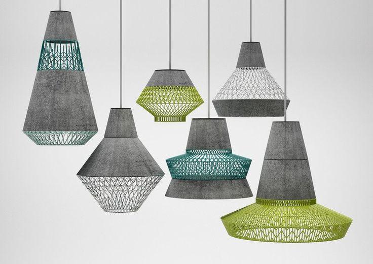 Très tendance, les lampes en béton. Elles sont ici allégées par des grilles en métal peint et sont complètement customisables, offrant de multiples combinaisons.   POT.POURRI par 3 Dots Collective