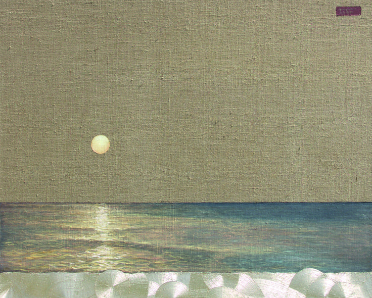Sunset * Barbara Gerodimou * Greece * oil on burlap with gold details * sea ** www.gerodimou.com