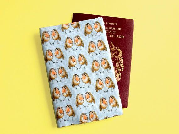 Robin passport cover  unique robin print fabric  travel gift