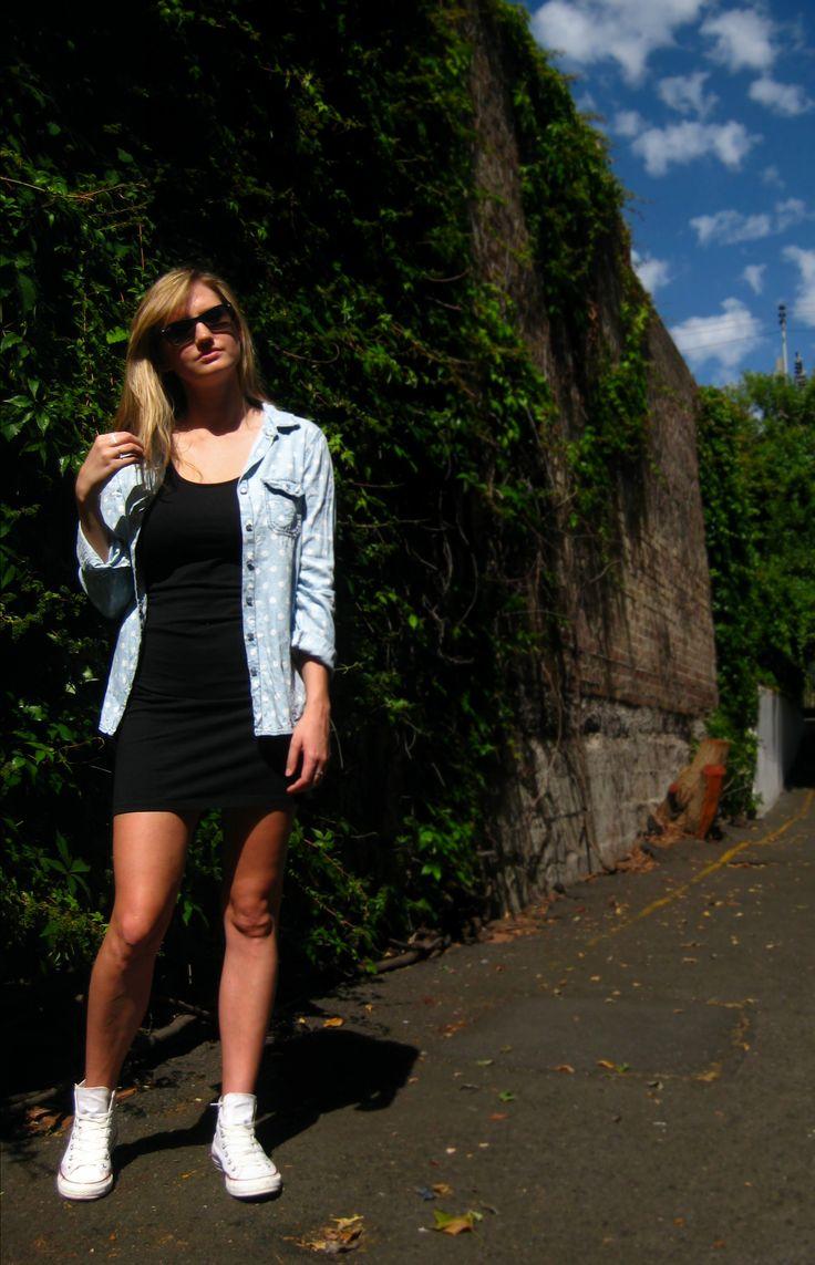 Black slip dress, polka dot shirt, All Stars