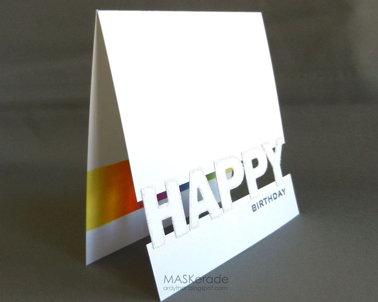 Happy space 2 (used letters to bridge the gap; cut & edged letters in glitter; glued them to the card, using graph paper behind it, to keep everything straight and lined up; stamped 'birthday' on front of card; inside is the masked & sponged rainbow)