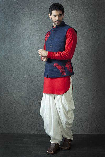 Blue and red lurta, nehru jacket, red kurta, blue nehru jacket,
