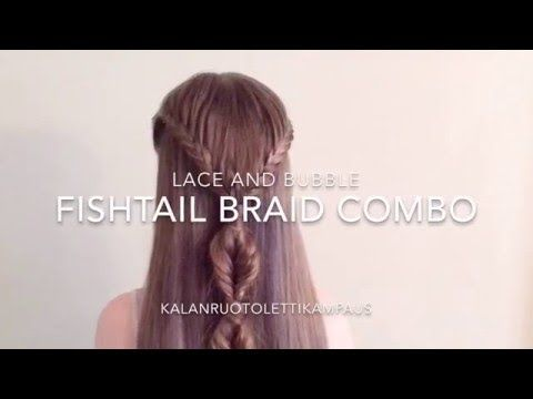 Lace Fishtail and Bubble Fishtail Combo (Kalanruotoletti-kampaus) - YouTube