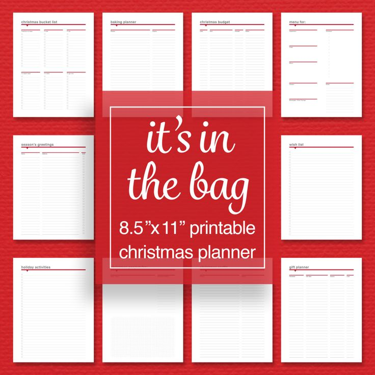 Christmas Planner Pack - Baking, Menu, Gifts, Budget, Activities, and Project Planner - Printable - Editable PDF - Letter Size by sassyplanners on Etsy