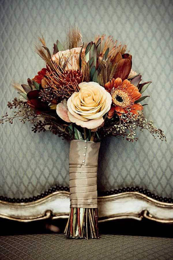 Beautiful Fall Bouquet  love the fabric wrapped around the flowers