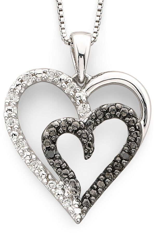Fine Jewelry 1/10 CT. T.W. White and Color-Enhanced Black Diamond Sterling Silver Heart Pendant Necklace 1jAhrUp