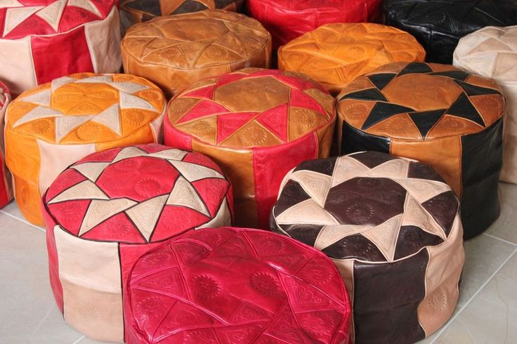 GENUINE LEATHER MOROCCAN POUF POUFFE HANDMADE OTTOMAN FOOTSTOOL | Home & Garden, Furniture, Ottomans, Footstools & Poufs | eBay!