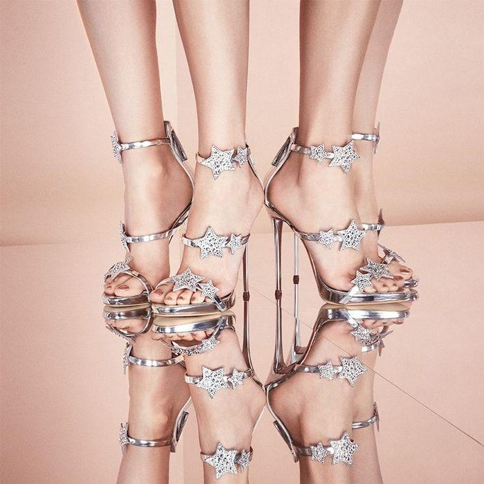 Giuseppe Zanotti Harmony Star Mirrored Silver Sandal With Three Straps And Stars Rhinestone High Heels Giuseppe Zanotti Heels Pumps Heels Stilettos