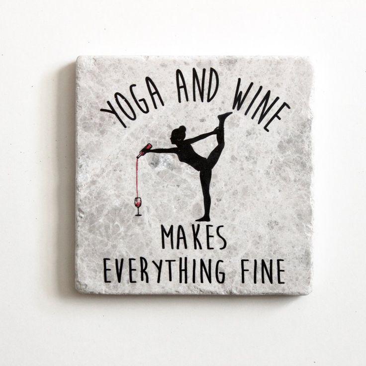 Yoga And Wine Makes Everything Fine Coaster | Yoga Gift