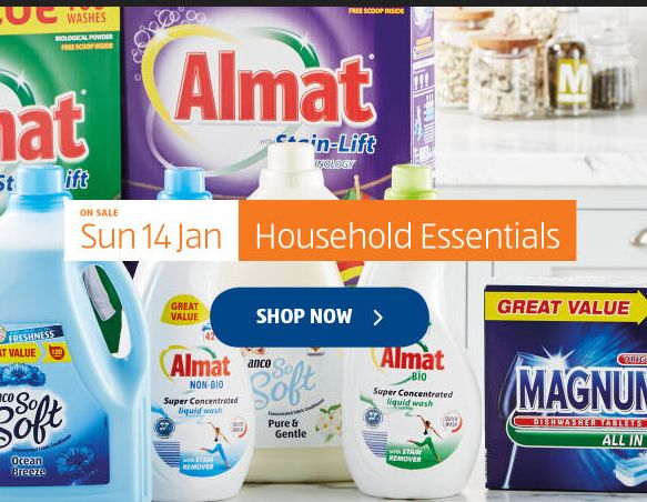 Aldi Special Buys Sunday 14th January 2018. Household Essentials - http://www.olcatalogue.co.uk/aldi/aldi-special-buy.html