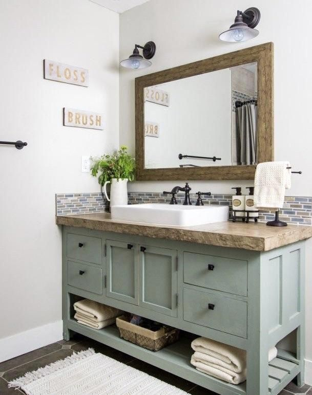 Wooden Bathroom Vanity One Shown Is Approximately 35 Tall X 25 Wide X 60 Long Has An Op Wooden Bathroom Vanity Farmhouse Bathroom Vanity Bathrooms Remodel