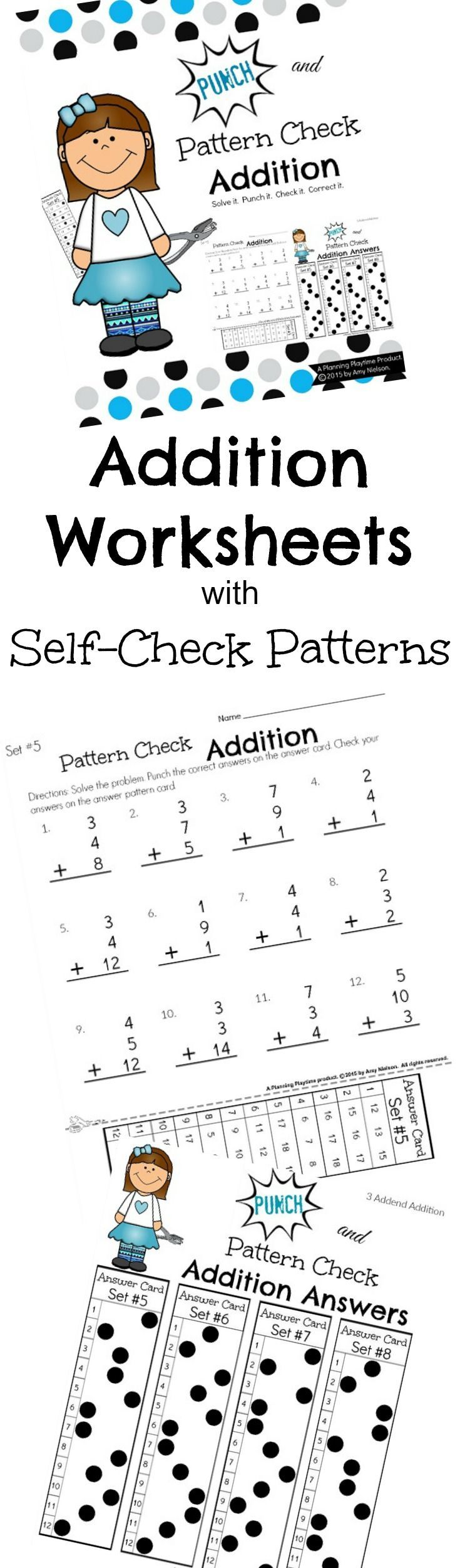 Super fun addition worksheets with self check. Solve the problems, punch out the answers, and then check them against the answer pattern card. If you seen back through the holes you got it right. If you see white, try again.  #1st #grade #math #addition #worksheets