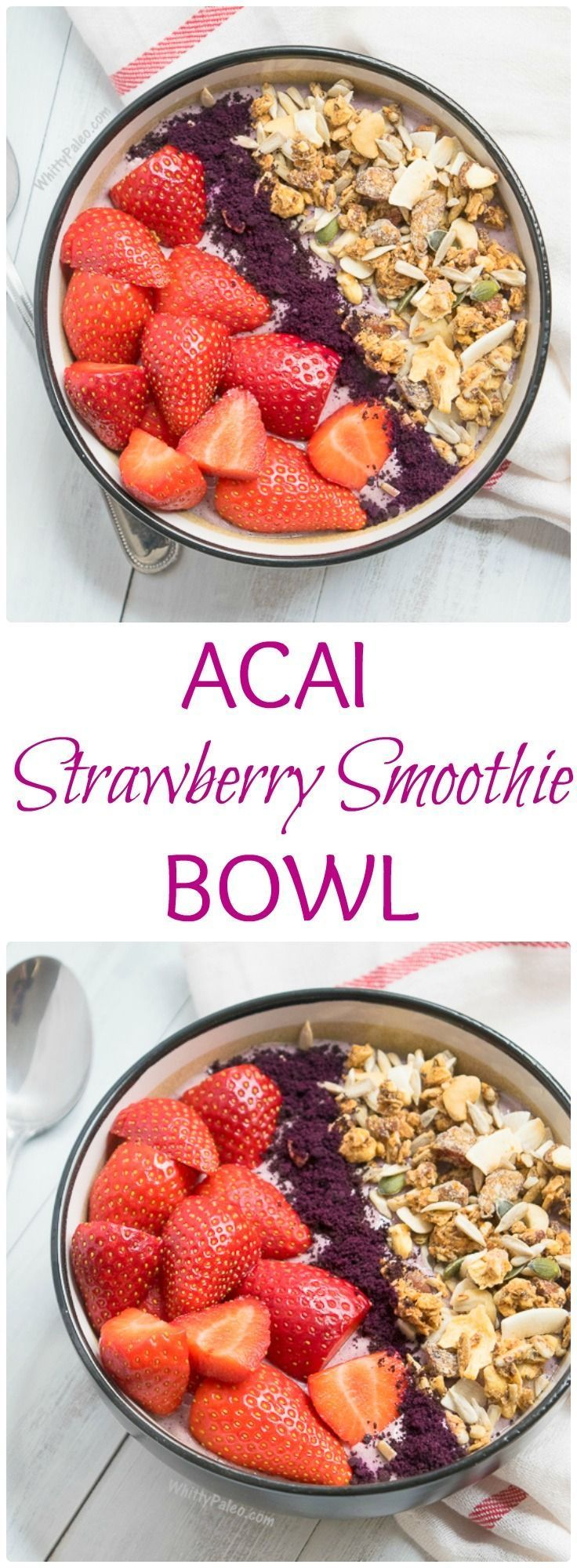 Paleo strawberry acai smoothie bowl. Such a simple, healthy and nourishing breakfast that you can whip up in an instant! From http://whittypaleo.com