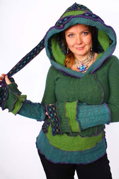 Funky blues and greens hoodie, by Katwise http://katwise.com/hoodies.html