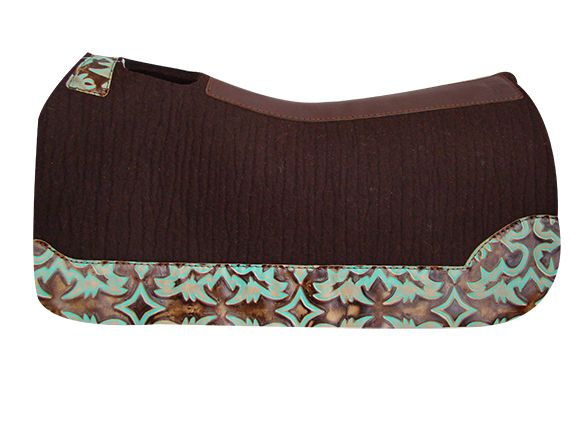 5 Star Equine Product's 100% Virgin Wool Chocolate Brown Saddle Pad with Turquoise Laredo Custom Full Length Wear Leathers!