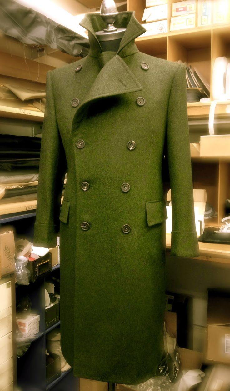 Gieves & Hawkes bespoke alpaca greatcoat in Loden