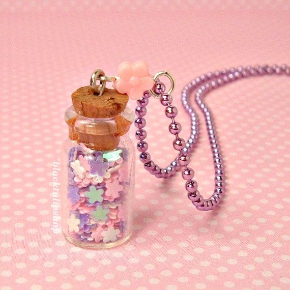 Bottle Necklace Pastel Iridescent Flowers Glass by blacktulipshop